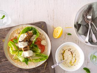 Easy lamb koftas with decadent lemon and mint hummus