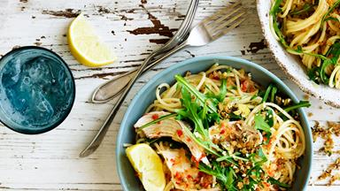Spicy chicken pasta with dukkah crumbs