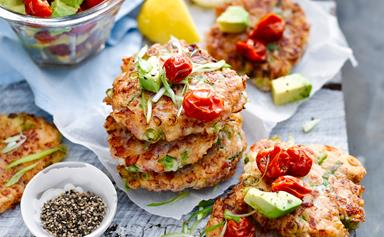 Gluten-free ham and spring onion fritters