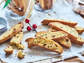 Pistachio and goji berry biscotti