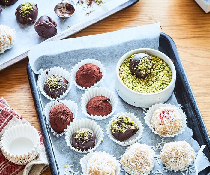 Homemade bliss balls and truffles
