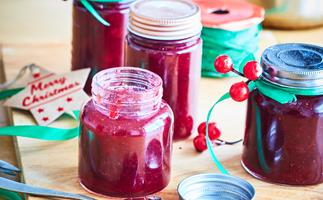 Festive plum and strawberry jam
