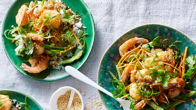 Honey sesame king prawns