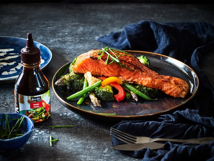 Hoisin salmon fillets with wok-fried vegetables
