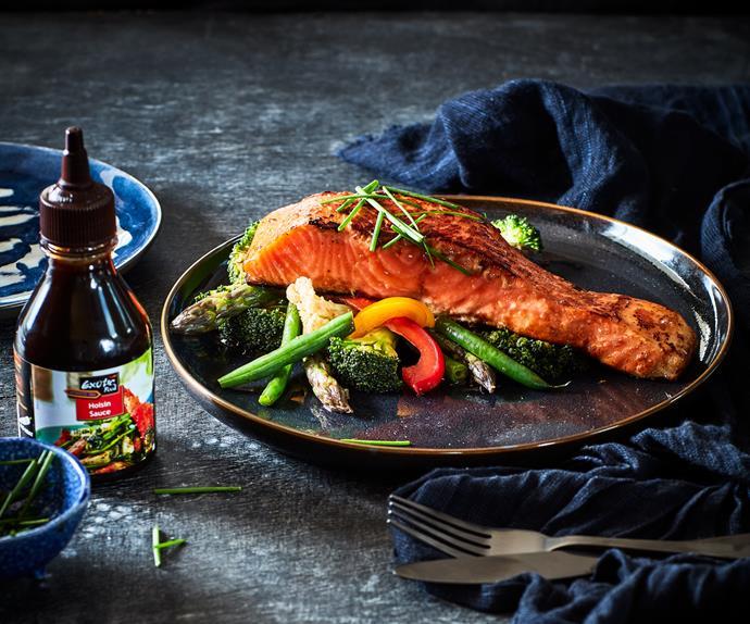 Hoisin salmon fillets with wok-fried vegetables