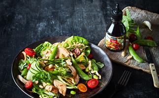 Teriyaki chicken salad with crispy noodles