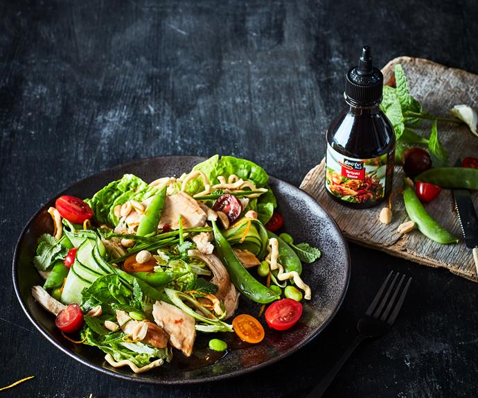 Teriyaki chicken salad with crispy noodles