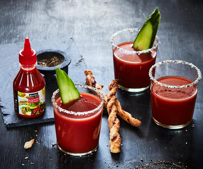 Dirty Bloody Mary with sriracha cheese dippers