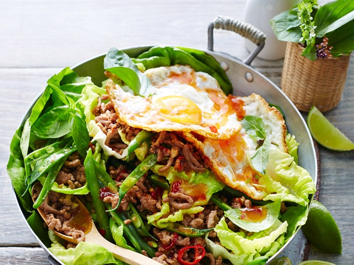 Stir-fry turkey with basil and fried egg