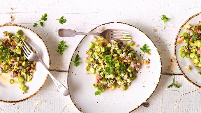 Asparagus, pine nut and parmesan salad
