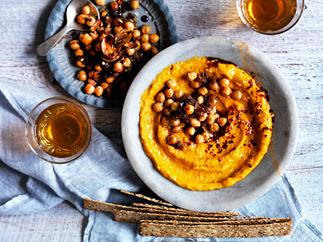 Roast pumpkin dip with spiced chickpeas