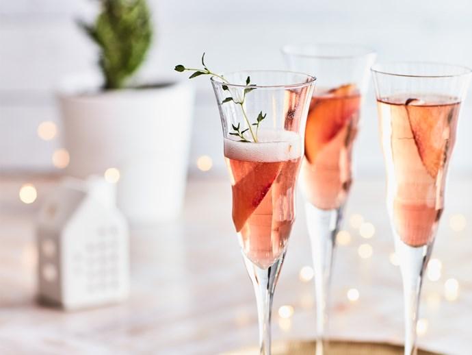 Nectarine kombucha Champagne cocktails