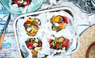 Vege parcels with sundried tomato pesto and feta