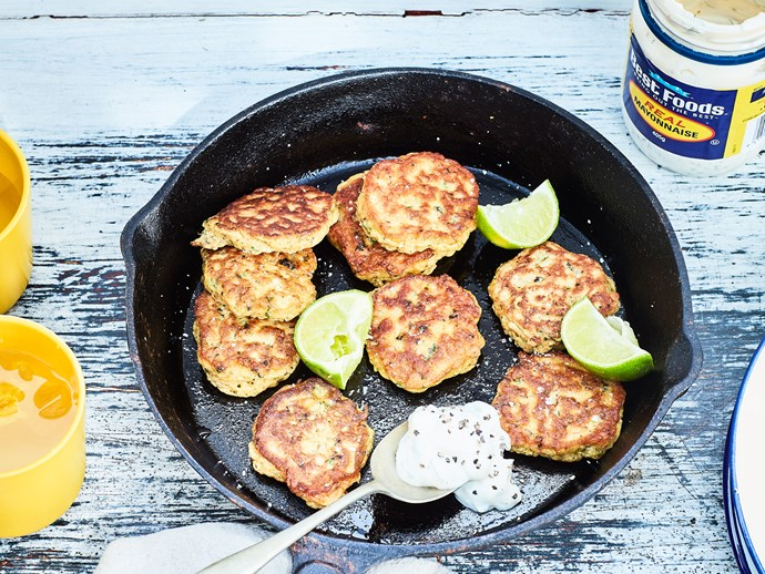 Mini mussel fritters with caper aioli