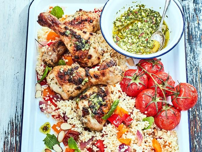 Bulghur salad with chimichurri chicken drumsticks