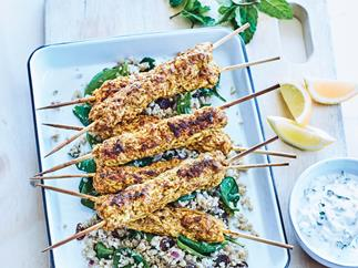 Chicken tikka skewers with raita and cauliflower pilaf