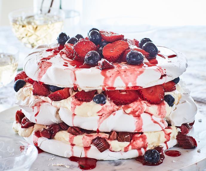 Meringue and berry layer cake