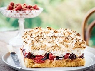 Raspberry and plum meringue torte