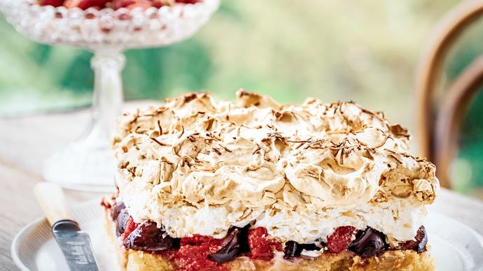 Raspberry and plum meringue torte