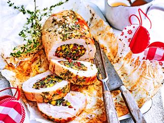 Turkey breast with cranberry and pistachio stuffing