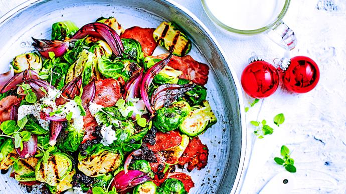 Grilled Brussels sprout salad with creamy dressing