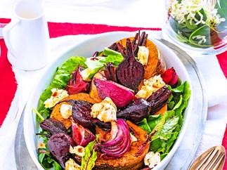 Balsamic pumpkin, beetroot and onion salad
