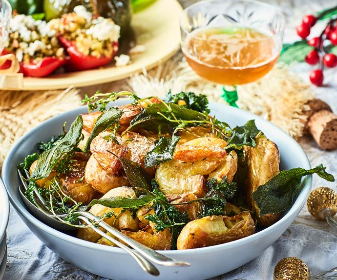 Roasted potatoes with crispy herbs