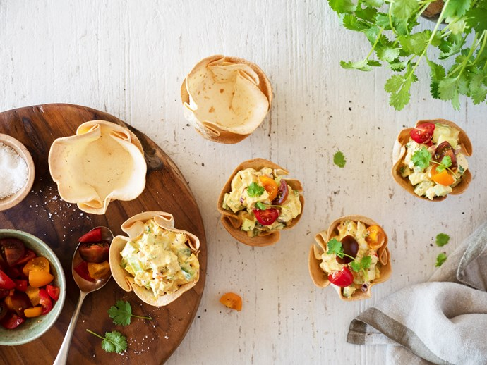Crunchy chicken salad in crisp tortilla bowls