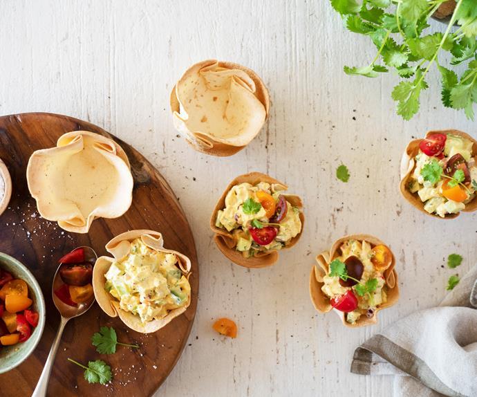 Crunchy chicken salad in crisp tortilla bowls