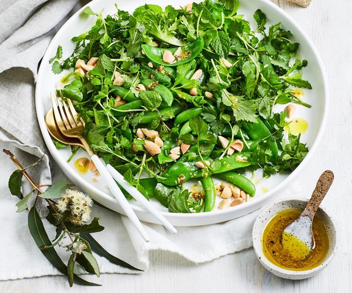 Pea, mint and roasted almond salad