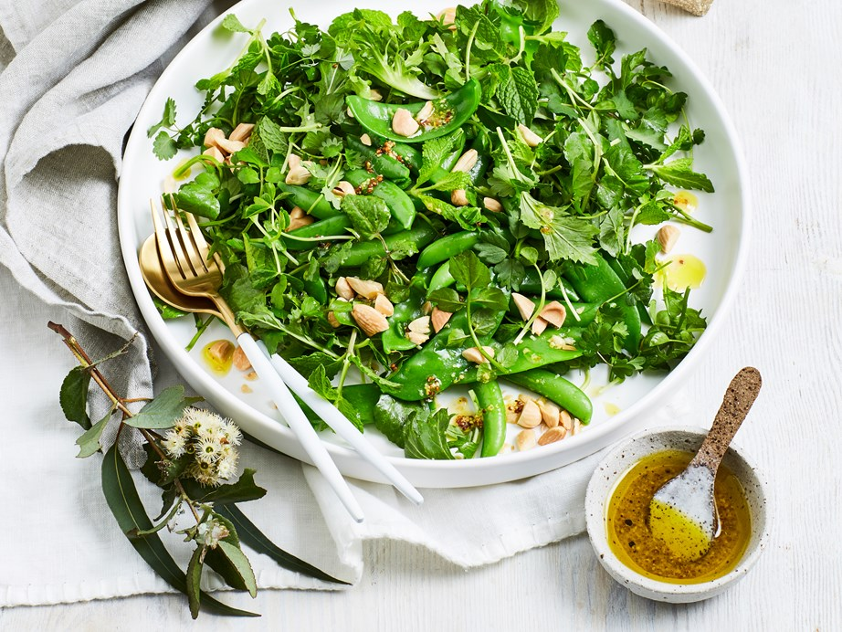 "[Pea, mint and roasted almond salad](https://www.foodtolove.co.nz/recipes/pea-mint-and-roasted-almond-salad-5161|target=""_blank"")"