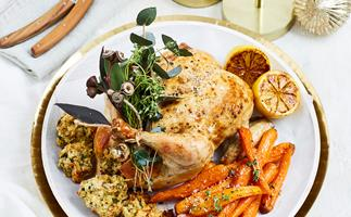 Roast chicken with lemon herb stuffing
