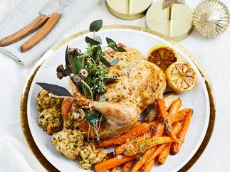 Roast chicken with lemon herb stuffing