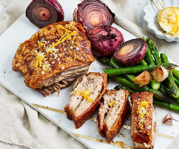 Citrus pork belly with asparagus