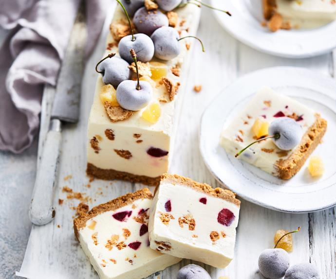 Cherry and amaretti white Christmas log