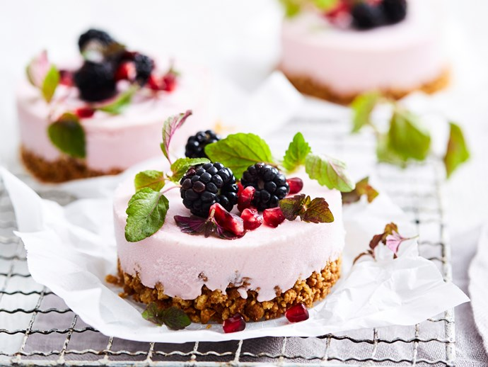 Pomegranate and frozen yoghurt cheesecakes