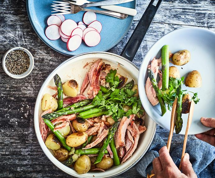 One-pan ham, spuds and vegetables