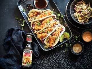 Crispy fish tacos with Asian slaw and sweet soy sauce