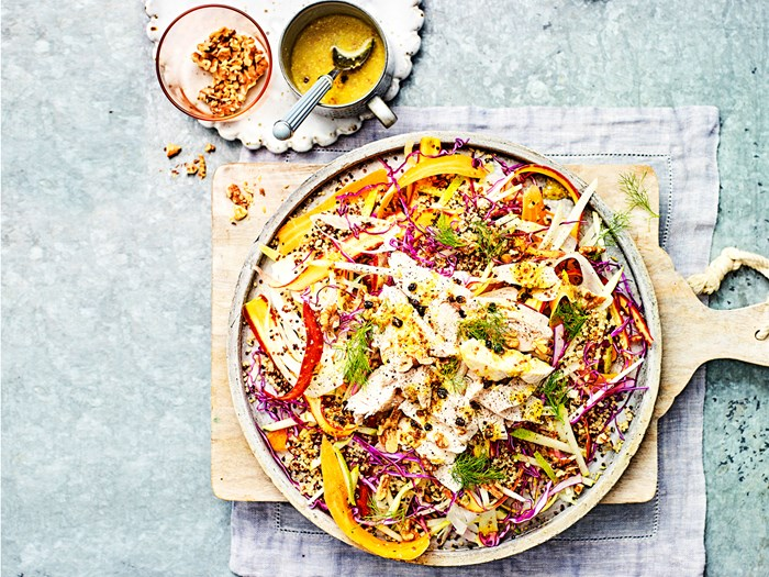 Raw slaw with poached chicken