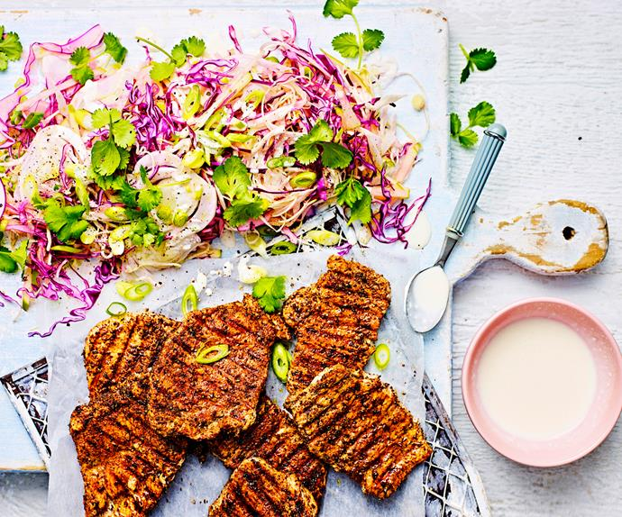 Fennel-rubbed pork with fennel and apple slaw