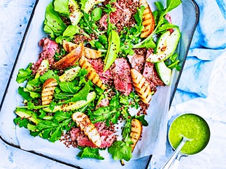 Grilled beef, pear, rocket and avocado salad