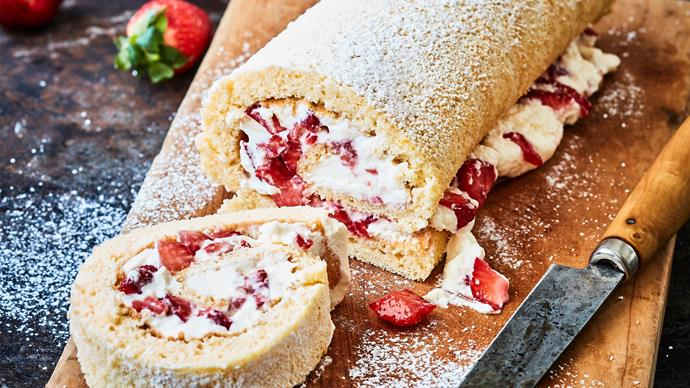 Strawberry shortcake roulade