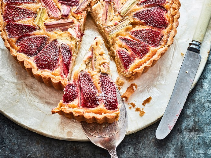 Strawberry, rhubarb and almond tart