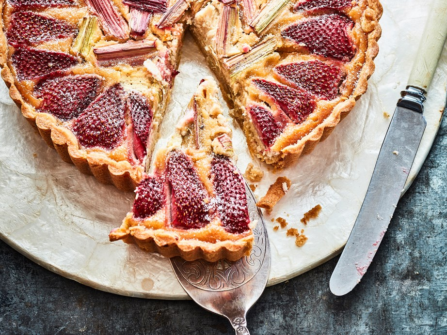 "[Strawberry, rhubarb and almond tart](https://www.foodtolove.co.nz/recipes/strawberry-rhubarb-and-almond-tart-8783|target=""_blank"")"