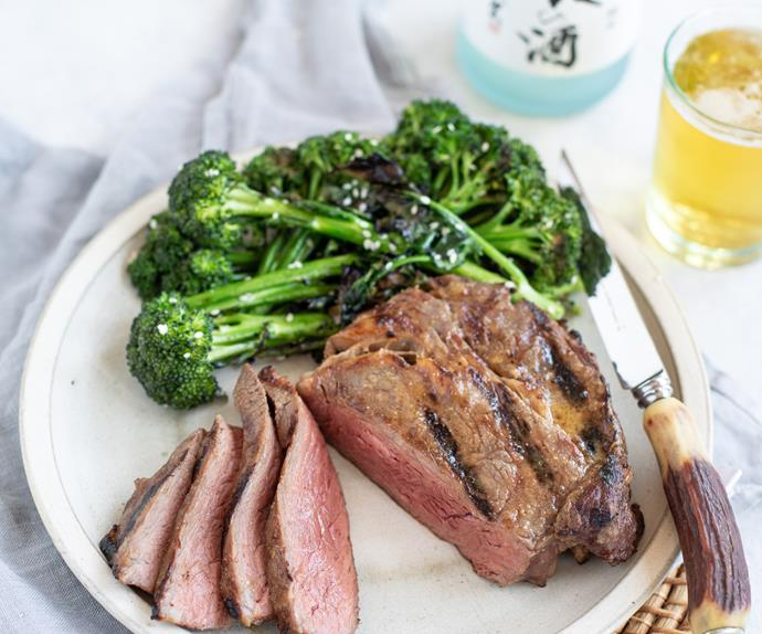 "Marty's [saké, miso and butter basted steak](https://www.foodtolove.co.nz/recipes/the-backyard-cooks-sake-miso-and-butter-basted-steak-33289|target=""_blank""), served with charred broccolini"