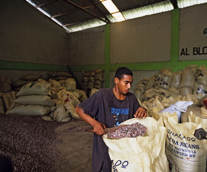 Sacks of beans are weighed at the Conacado Co-operative.