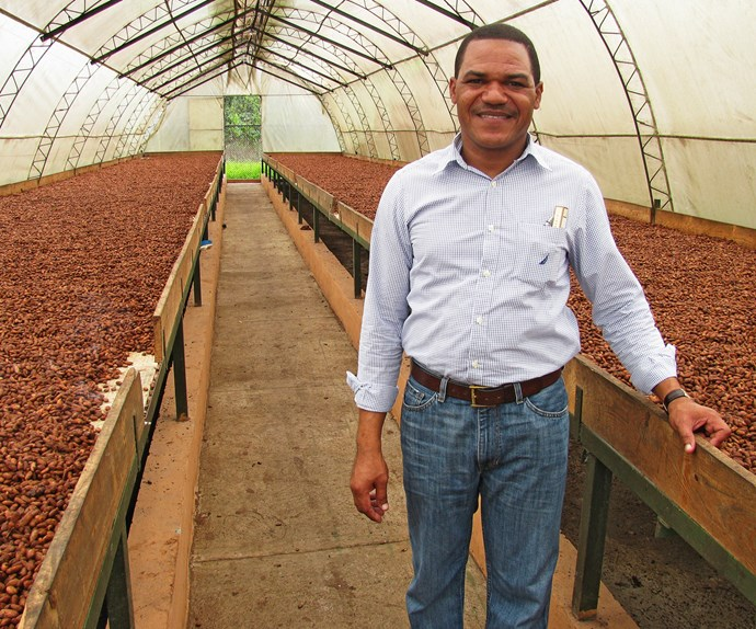 Made with love Abel Fernandez, Conacado's export manager, in the drying station where cacao beans are fermented and dried for export.