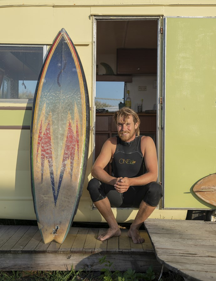 *David and Nuala's son (Seth Marshall) outside the retro caravan he calls home*