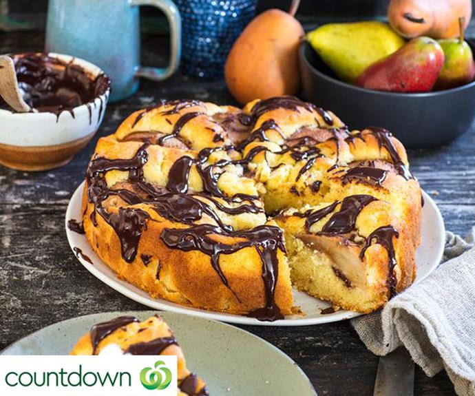 Pear and chocolate drizzle cake