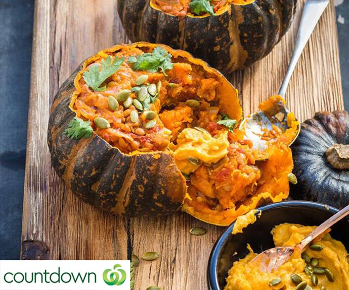 Whole roasted buttercup squash with spiced lentils